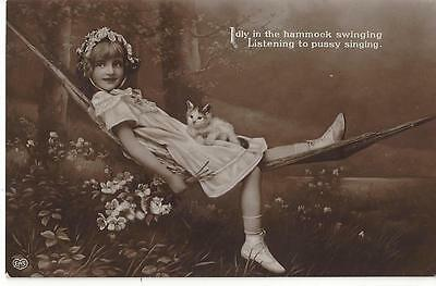 Sweet Little Girl Swing In A Hammock With A Cat 1910 Real Photo Postcard