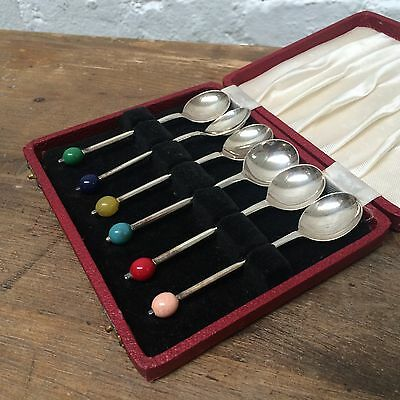 Set Of 1950's Yeoman Plate Tea Spoons In Box