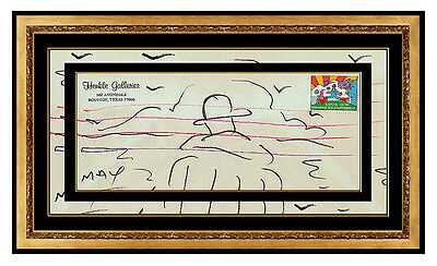 PETER MAX Original Color INK DRAWING SIGNED Umbrella Man Pop Art Iconic painting