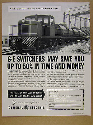 1952 GE General Electric 45-Ton Switcher locomotive train photo vintage print Ad