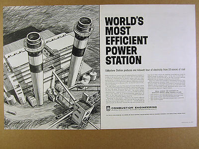 1962 Philadelphia Electric Eddystone Power Station art Combustion Engineering Ad