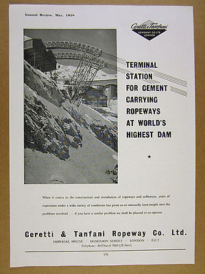 1958 Ceretti & Tanfani Ropeway for World's Highest Dam photo vintage print Ad