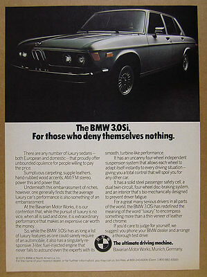1975 BMW 3.0Si 3.0 Si Sedan silver car photo vintage print Ad