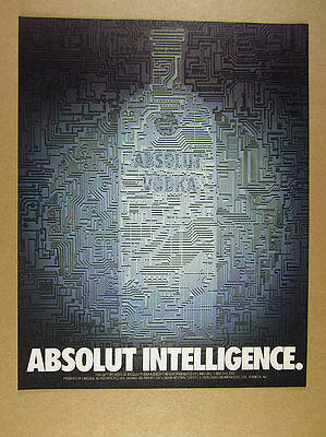 1989 Absolut Intelligence computer chip circuit vodka bottle art print Ad