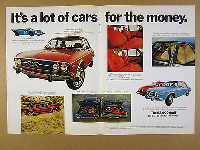 1972 Audi 100 LS 100LS red sedan car photo vintage print Ad