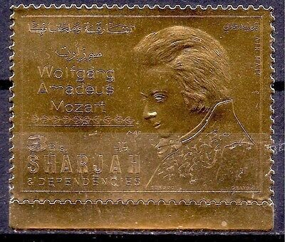 Sharjah 1970 W.A. Mozart Composer Music Opera People GOLD 1v MNH