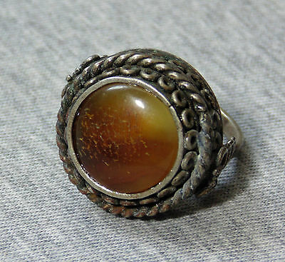 Vintage Silver Plated Ring With Real Natural Baltic Butterscotch Amber Stone -