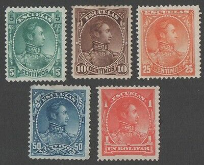 Venezuela. 5 early stamps. MH