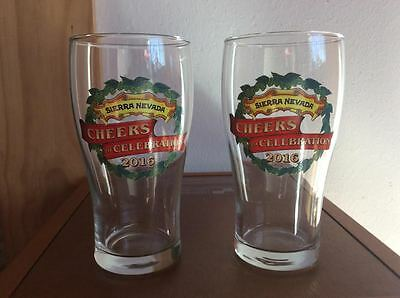 NEW Sierra Nevada Beer Glasses- Set of 2 -  FREE PRIORITY FAST SHIPPING!