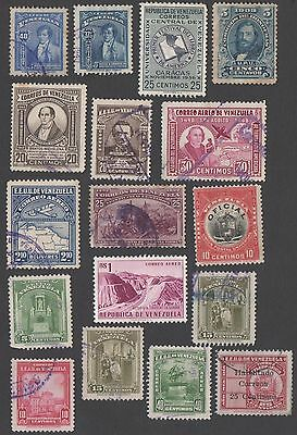 Venezuela. 17 early and mid-period stamps. MH / Cancelled