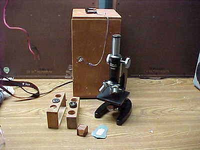 Vintage Technical Instrument Microscope With Objectives In Wood Case