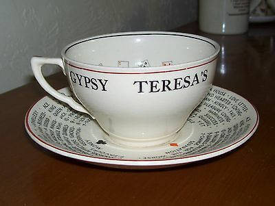 RARE GYPSY TERESA'S FORTUNE TELLING CUP AND SAUCER J & G MEAKIN ENGLAND c1930