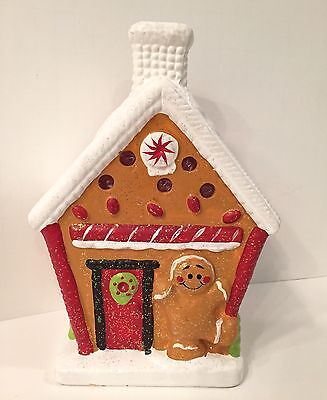 "*FAST SHIP* 8"" Ceramic Large Gingerbread House Christmas Tea Light Candle Holder"