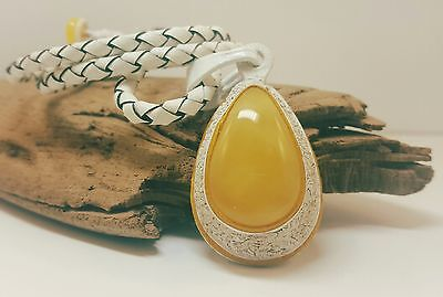 Necklace Baltic Amber Natural Stone Nr133 16,2g Butterscotch Real Leather White