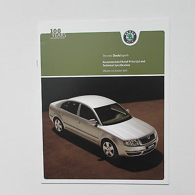 Skoda Superb RRP List and Technical Specification Brochure (2005)