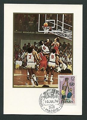 SPAIN MK 1976 OLYMPIA BASKETBALL OLYMPICS MAXIMUMKARTE MAXIMUM CARD MC CM c8790