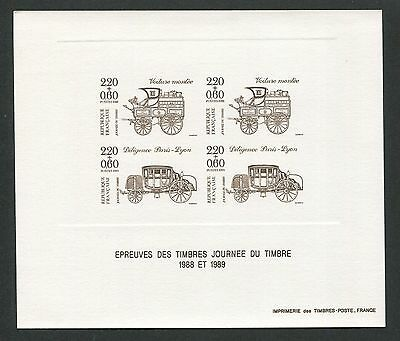 FRANCE EPREUVE DE LUXE 1989 JOURNEE TIMBRE LUXUSBLOCK DELUXE SHEET KUTSCHE h0999