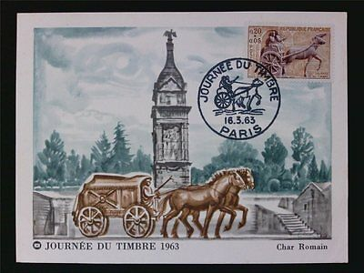 FRANCE MK 1963 PFERDEKUTSCHE PFERD HORSE MAXIMUMKARTE MAXIMUM CARD MC CM c7142