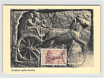 FRANCE MK 1963 RÖMISCHE KUTSCHE PFERD HORSE CARTE MAXIMUM CARD MC CM d9307