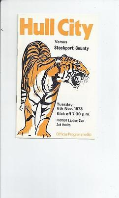 Hull City v Stockport County League Cup Football Programme 1973/74
