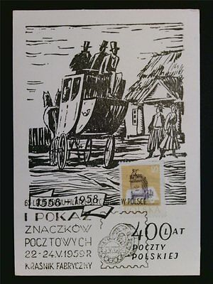 POLEN MK 1959 KUTSCHE PFERD HORSE MAXIMUMKARTE CARTE MAXIMUM CARD MC CM c7002