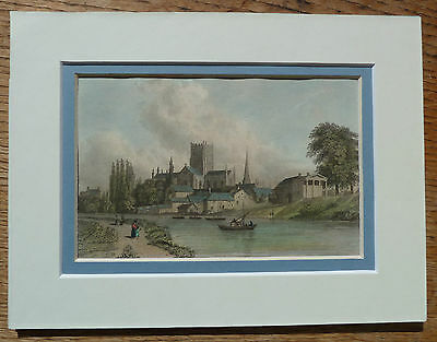 Hereford and cathedral from the river William Westall 1830 print in mount