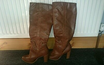 New look leather tan knee high boots size 8 brand new