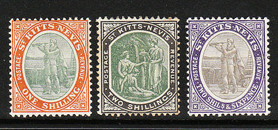 ST KITTS-NEVIS. 1903. EVII TOP DEFINS, 1/- to 2/6d. WMK CROWN CA. LMM. Sg 7-9