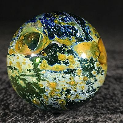 "Mad Man Marbles 1 3/8""+ Gold & Silver Nitrate Galaxy Marble"