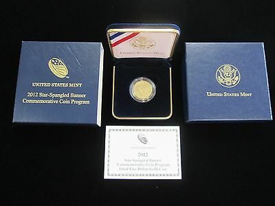 2012 Star Spangled Banner Comm. $5 Proof Gold Coin W/coa And Box 1/4Oz. Coin