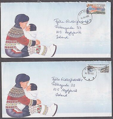GREENLAND to ICELAND Nice lot of 2 pcs covers 1995