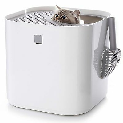 ModKat Hooded Filterless Cat Litter Box with Scoop Pets Cats Kitten Tray White