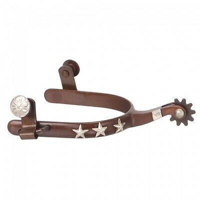 Tough 1 Kelly Silver Star Premium Western Spurs With Stars, Brown