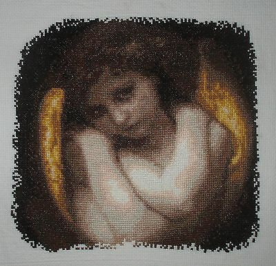 "QUADRO RICAMATO A MANO ""Angelo""  PUNTO CROCE-CROSS STITCH"