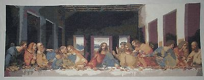 "QUADRO RICAMATO A MANO ""Ultima cena - Last supper""  PUNTO CROCE-CROSS STITCH"