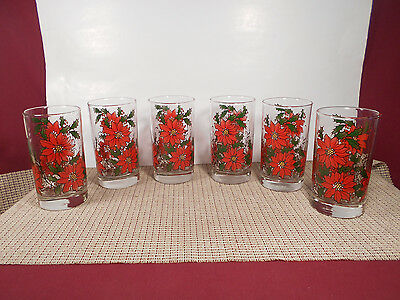 Libbey Crystal Poinsettia & Holly Design Set of 6 Glass Tumblers 10 oz 5""