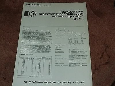 PYE SERVICE SHEET for PYCALL SYSTEM CTCSS TONE ENCODER/DECODER Type TL1 (Mobile)