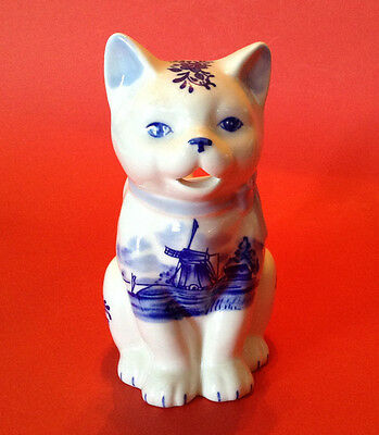 Delft Cat Kitten Creamer With Hand Painted Windmill - E Crown TM Holland