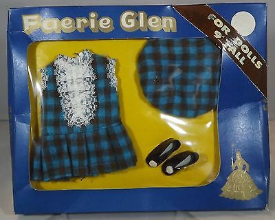 """VINTAGE 1960s BOXED FAERIE GLEN 9"""" DOLL OUTFIT CHECK DRESS WITH HAT & SHOES #573"""