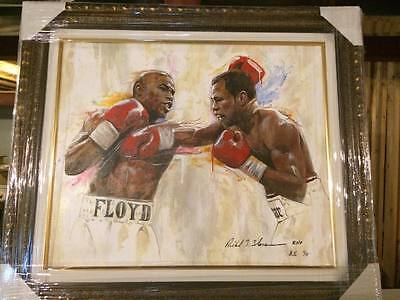 Mayweather v Mosley Framed Boxing fight Canvas Giclee by Richard T Slone (1/5)