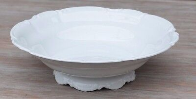 Vintage Hutschenreuther German Sylvia Footed Vegetable Bowl All White