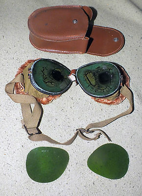 Vintage WWII WW2 Military Pilots Folding Tinted Goggles Case Spare Lenses Lens