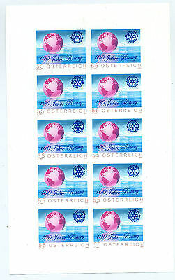 Austria 2005 100th anniv of Rotary, sheet of 10 mint imperf in different colours