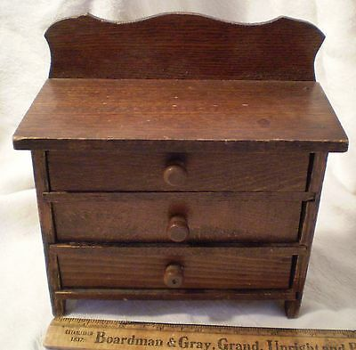 Antique Vintage Miniature Doll Toy Wood Wooden Chest of Drawers