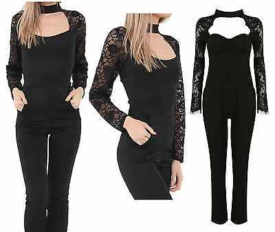 New Womens Ladies Choker Neck Lace Long Sleeve All In One Jumpsuit Size UK 8-18