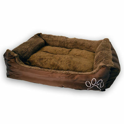 80cm Large Washable Warm/Cool Pet Dog Bed/Basket/Reversible Cushion/Brown