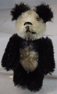 """Vintage 2.5"""" Miniature Schuco Jointed Mohair Panda Teddy Bear With Metal Eyes"""