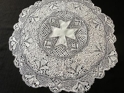 Vtg MALTESE LACE Tea LUNCHEON DESSERT 13 pc SET Placemats Coasters Centerpiece