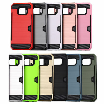 Heavy Duty Shock Proof Case Card Stand Armor Cover for Samsung Galaxy S6 S7