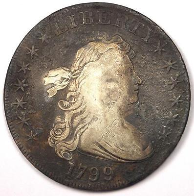 1799 Draped Bust Silver Dollar $1 - Very Fine Details (VF) - Rare Type Coin!